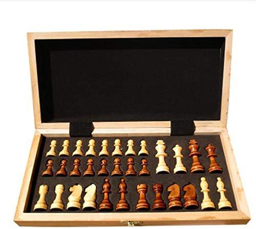 Mirui Juego de ajedrez para Adultos - Placa de ajedrez de Madera Plegable, Juegos de Mesa educativa, Juego de ajedrez de Madera para niños, niñas, Juegos Familiares -, Caja de Viaje Plegable portátil