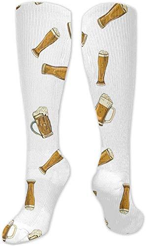 Sommer Bierglas Becher Unisex Fashion Casual Crew Socken Rundhals Socken Kleid Socken 50cm Gr. Einheitsgröße, weiß