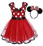 AmzBarley Kinder Mädchen Kostüm Polka Dot Prinzessin Kleid Fancy Dress up Party Kleidung Geburtstag Kleider Outfit Halloween Cosplay mit Maus Ohr Stirnband, Farbe Rot, Size 110