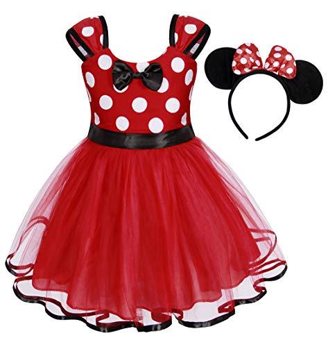 AmzBarley Baby Mädchen Kostüm Kinder Polka Dot Kleid Fancy Party Dressing up Kleidung Geburtstag Kleider Outfit Halloween Cosplay mit Stirnband, Rot194, 1-2 Jahre