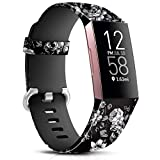 Maledan Compatible with Fitbit Charge 4/Fitbit Charge 3 Bands for Women Girls, Soft Adjustable Accessories Printed Strap Replacement for Fitbit Charge 4/Charge 3 Fitness Tracker, Small, Grey Floral