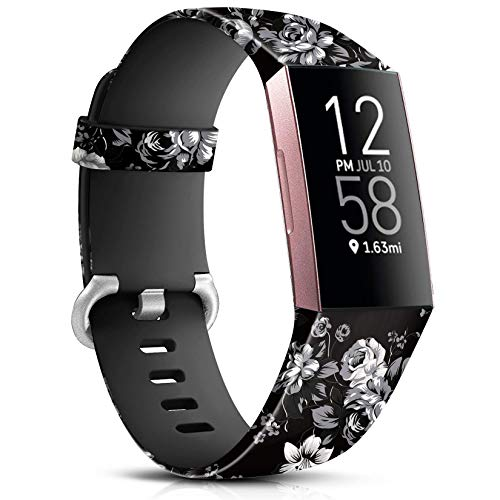 Maledan Compatible with Fitbit Charge 4/Fitbit Charge 3 Bands for Women Girls, Soft Adjustable Accessories Printed Strap Replacement for Fitbit Charge 4/Charge 3 Fitness Tracker, Large, Grey Floral