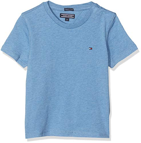 Tommy Hilfiger Jungen Boys Basic Cn Knit S/S Regular Fit T-Shirt, Blau (Dark Allure Heather 408), 152 ( Herstellergröße: 12)