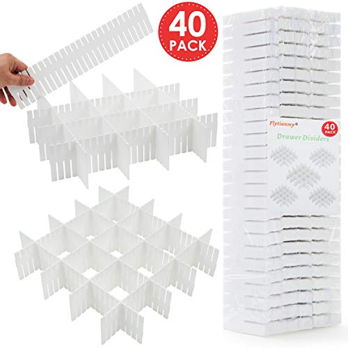 Flytianmy 40pcs Drawer Dividers Adjustable Drawer Storage Organizer for Clutter Kitchen Cutlery Dresser Makeup Tools Socks Can Help Tidy Office Desk Clinic Bedroom