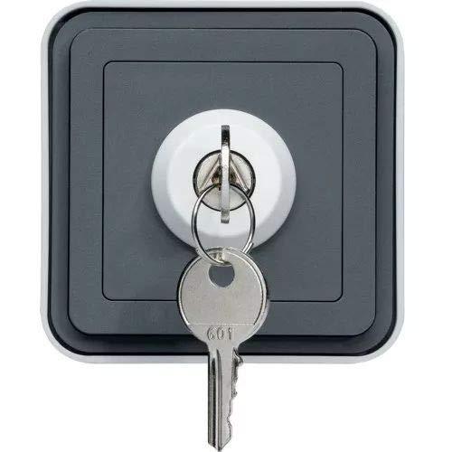 Hager cubyko - Interruptor estanca con llave 3 posición superficie gris