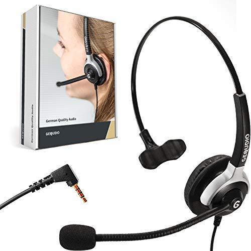 GEQUDIO Headset mit 3,5mm Klinke geeignet für FritzFon C6, MacBook, Smartphone, Handy, Notebook, PC, Laptop I Kopfhörer und Mikrofon mit Ersatz Polster I 60g leicht