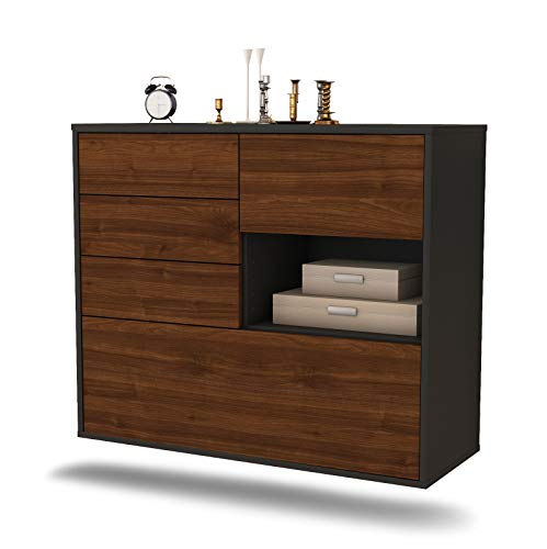 Dekati dressoir Knoxville hangend (92x77x35cm) Corpus antraciet mat | Front Hout Design | Push-to-Open modern walnoot