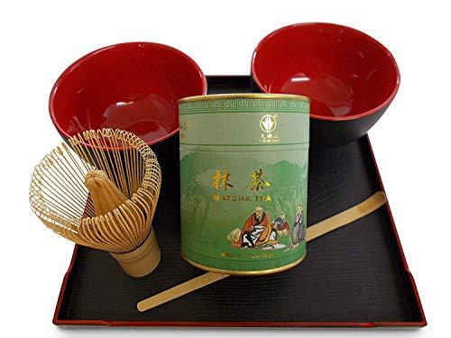 japanisches Matcha 抹茶 Tee Set für Teezeremonie - 80g Matcha Tee - Bambusbesen Cha-Sen (100 Borsten) - Bambuslöffel Chashaku zur Portionierung 2 x Matchaschale Rot + Servier-Tablett Teeset Geschenkset