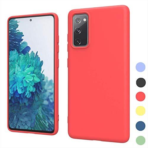 NEINEI Funda para Samsung Galaxy A22 4G,Carcasa Anti-arañazos Gel de Sílice Líquido Sedoso Caso,[Ultra-Delgado] [Protección de Cámara],TPU Shockproof Case Cover,Rojo