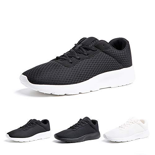 Zapatillas de Running Hombre Mujer Deportivas Casual Gimnasio Zapatos Ligero Transpirable Sneakers Negro Blanco 40 EU