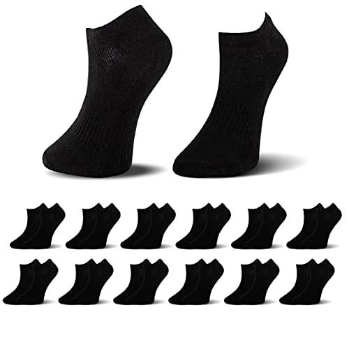 Socksberg Kurze Sneaker Socken Damen und Herren 39-42 - Schwarz 12 Paar Baumwolle - Angenehm Weicher Halt - Atmungsaktive Sneakersocken für Sport & Sommer - Halbsocken/Kurzsocken