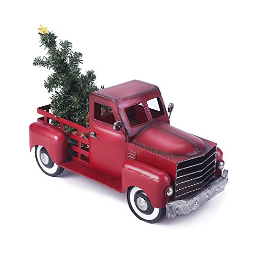 Vintage Red Metal Truck Christmas Decor with a Lit-up Removable Christmas Tree Wrapped Around by LED Lights String, Farmhouse Look Pickup Truck Decorations, Great (Large Size)