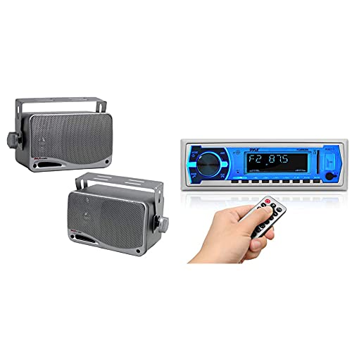 "3-Way Waterproof Marine Box Speakers - 3.5"" 200 Watt Speaker System - Pyle PLMR24S (Silver) & Marine Bluetooth Stereo Radio - 12v Single DIN Style Boat in Dash Radio Receiver System PLMRB29W (White)"