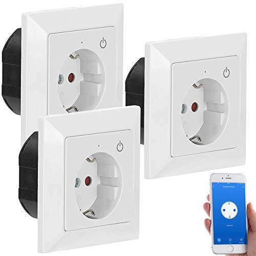 Luminea Home Control Funksteckdose: WLAN-Unterputz-Steckdose mit App, für Siri, Alexa & GA, 3er Pack (Smarthome-Steckdosen Unterputz)