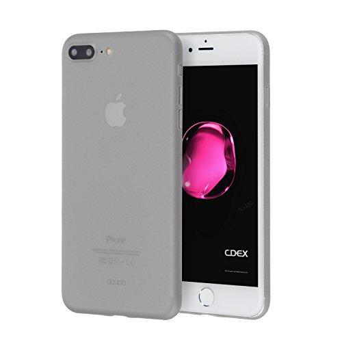 doupi UltraSlim Hülle kompatibel für iPhone 8 Plus / 7 Plus (5,5 Zoll), Ultra Dünn Fein Matt Oberfläche Handyhülle Cover Bumper Schutz Schale Hard Case Taschenschutz Design Schutzhülle, grau