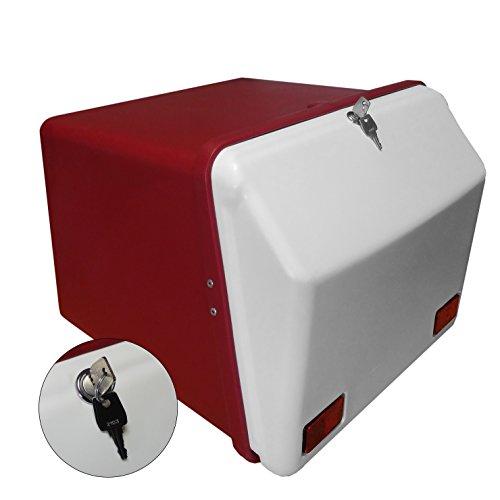 Portaequipajes Moto baúl Reparto Rojo/Blanco con Reflectantes homologados, Cierre Cerradura
