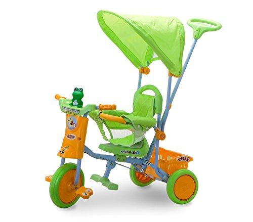 Triciclo a spinta TS43 VERDE con pedali e cappottina SCHIANO protezioni anticaduta. MEDIA WAVE store ®
