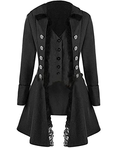 【Unique and Retro Design】: Our Halloween jacket is designed with lapels, V-necks, tuxedos, long sleeves, buttons, corsets and lace decoration, restoring the daily wear of a medieval duchess or a female captain. Choose our Halloween Gothic jacket and ...