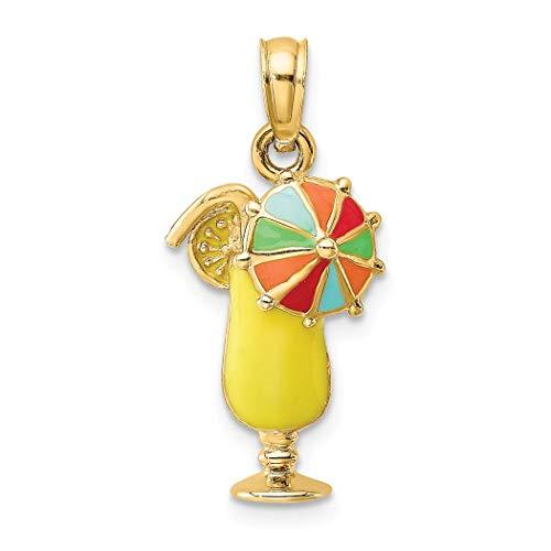 14ct gouden gele tropische drank met meerkleurige paraplu en 2-d charme
