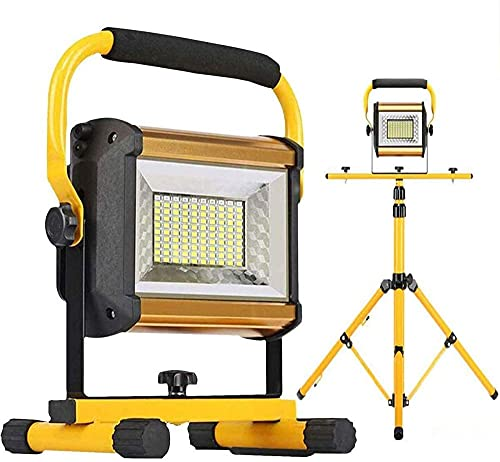 Luces de inundación Recargable 100W 8000lm LED Luz de Trabajo portátil con trípode Impermeable Al Aire Libre Camping Luz de construcción Sitio de Trabajo Nivel de iluminación 3 Brillo Ajustable A