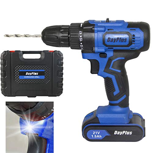 Cordless Drill with Battery and Charger, 21V Electric Drill Screwdriver Set 29PCS Accessories Variable Speed 1500mAh with LED Work Light 2-Speed Trigger 45Nm Max Torque with Carry Case