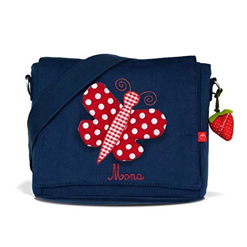 Kindergartentasche & Kindergartenrucksack in einem: Schmetterling für Mädchen (mit Namen) in blau