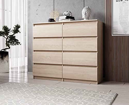 FURNIX Kommode mit 8 Schubladen 120 x 37 x 99 cm in Sonoma Eiche - Schubladenkommode Holz Mehrzweckschrank für Flur Schlafzimmer Wohnzimmer Badezimmer Kinderzimmer als Sideboard Highboard Kippschutz