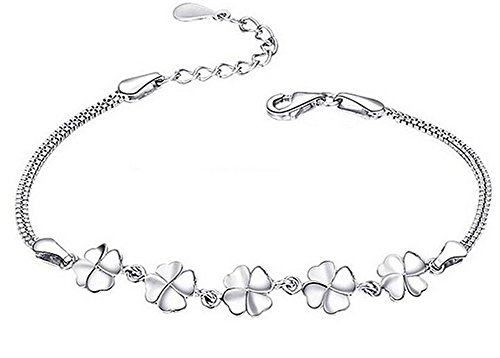 BIGBOBA Mode Armband Lucky Schmuck Kette Vergoldet Silber vier Blätter Blumen Armband Weihnachten Geschenk für Damen Mädchen Silber