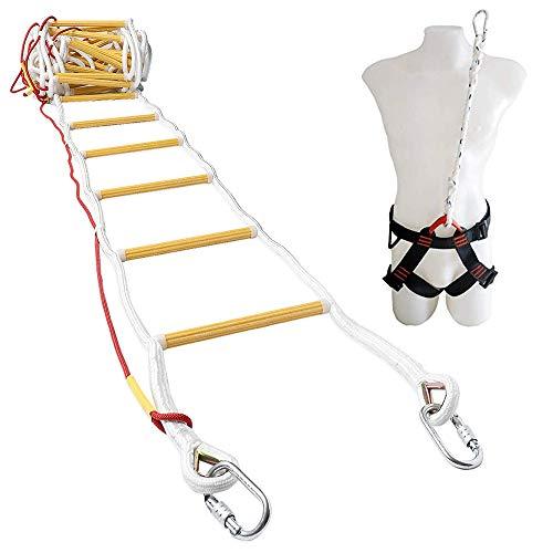 ISOP Escalera de Emergencia Contra Incendios 10 m (32 pies) Escalera de Seguridad Resistente a las Llamas con Mosquetones, Cable de Seguridad y Cinturón de Seguridad - Reutilizable