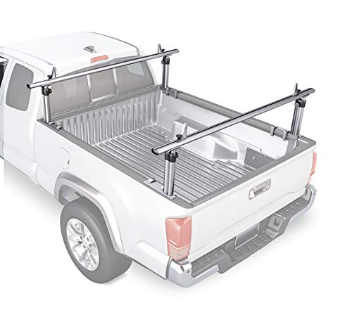 AA-Racks Model APX2501 75' Full-Size Pickup Truck Ladder Racks Low-profile Height-Adjustable Utility Aluminum Truck Bed Rack with Load Stops