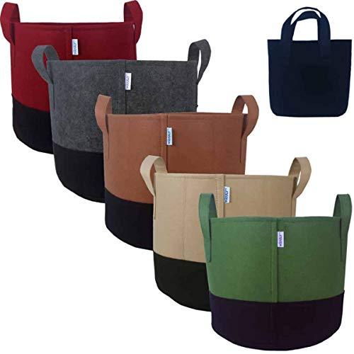 Wraxly Fabric Grow Bags – The Original Two-Tone 7-Gallon Nonwoven Felt Planter Pots. Best Gardening Gift. Premium Heavy-Duty. [5-Pack of Assorted Colors – Plus Black Bonus Bag!]