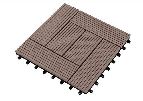 Carrelage de terrasse Premium WPC brun chocolat 30x30x2,1 cm Carrelage de balcon simple carrelage mosaïque, 11 pièces