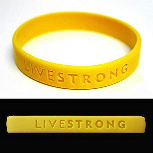 2ST-Sport-Silikon-Armband Hologram Energie Gummi-Armbänder Erwachsene Teens Konkav-Armbänder Außen Geschenke Gelb Substitute (Metal Color : Adult 202x12x2mm)
