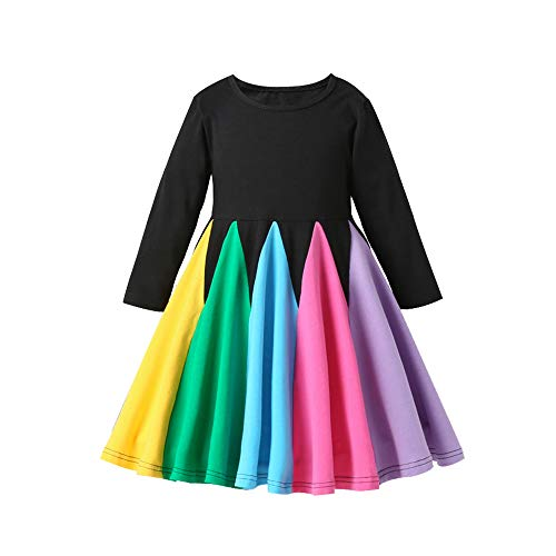 Decdeal Vestido Arcoiris para Niñas Vestido a Media Pierna para Niñas Vestido Princesa de Chicas Falda Tul Colorida para Muchachas Regalo de Fiestas para Chicas