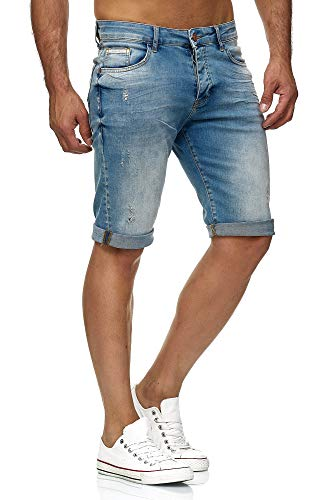 Red Bridge Herren Jeans Shorts Kurze Hose Denim Bermuda Stretch Capri Basic Blau Grau oder Weiß (W32, Lightblue)