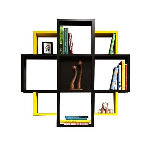 HOMIDEA Bloom Mensola da Muro - Mensola Parete - Mensola Libreria - Scaffale pensile per Studio/Soggiorno in Design Moderno (Nero/Giallo)