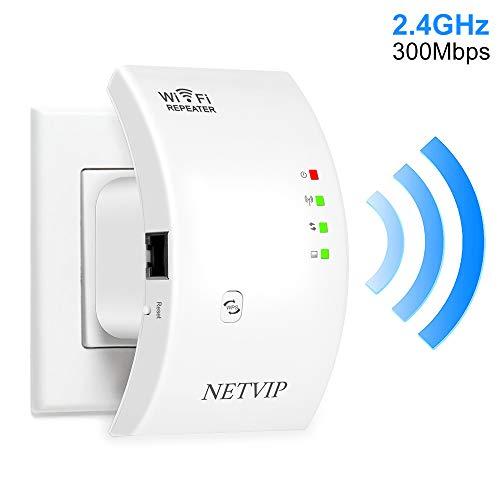 NETVIPWiFi中継器無線LAN中継機Wifiブースター信号増幅器リピーター/AP2モードWiFi範囲拡張器2.4GHz300Mbpsに対応高利得通信直挿しモデル白