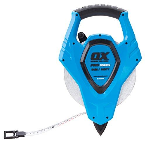 OX Tools OX-P028250 OX Pro Cinta de Carrete Abierta de Fibra de vidrio-50M / 165FT, Azul/Negro, 50m