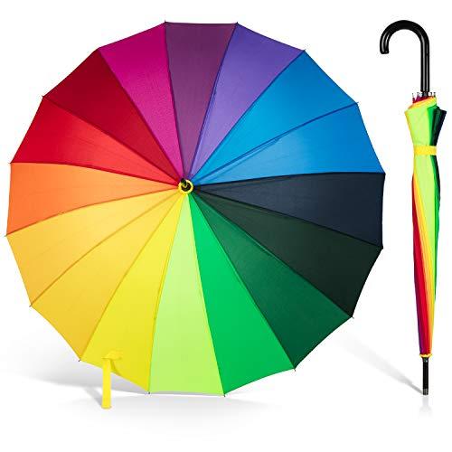 ADRIANO PORCARO® - Automatik Stock-Regenschirm Regenbogen 100cm Ø windfest - 16 fache Verstrebung - groß sturmfest & stabil windresistent (Rainbow)