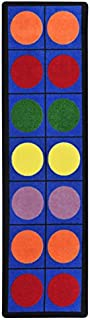 Joy Carpets Kid Essentials Early Childhood Runner Lots of Dots Rug, Multicolored, 2'1