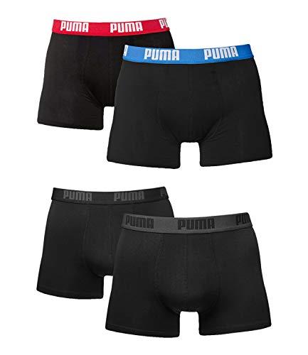 Puma Herren Boxer Basic Unterhosen 4er Pack in verschiedenen Farben 521015001 (schwarz/rot/blau (505)/black(230), L)