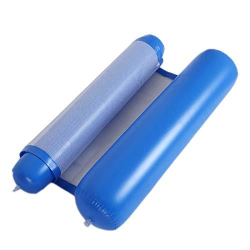 Cajolg Hamaca De Agua Inflable Hamaca Flotante De Agua Flotante Plegable Respaldo De Doble Propósito Fila Flotante Alfombra De Aire Portátil para Piscina,Azul