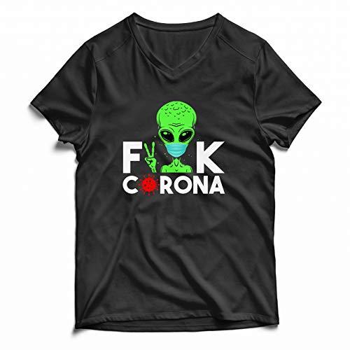 Fuck The Virus Stay At Home Camiseta Negra de Manga Corta con Cuello en v para Hombre Size XL