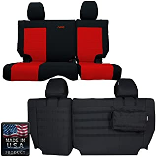 Bartact BTJKSC1112R4BR - 2011-2012 Jeep Wrangler JK 4-Door - Black/Red Mil-Spec with MOLLE System Rear Bench Seat Covers