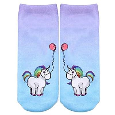 Crystallly Unicornio Lindo Calcetines Impresos Para Deporte Casuales Calcetines Damas Hombres Estilo Simple Niña Calcetines Invisibles Calcetines De Moda (Color : Stil 6, Size : One Size)