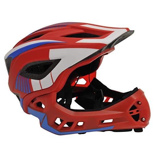 Kiddimoto 2-in-1 Fahrradhelm für Kinder, Jungen und Erwachsene MTB, BMX, Dirtbike, Skateboard mit abnehmbarer Kinnschutz, Rot/Blau klein