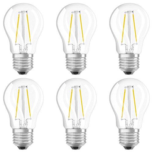 Osram LED Star Classic P Lampe, in Tropfenform mit E27-Sockel, nicht dimmbar, 1.6 W Ersetzt 15 Watt, Filamentstil Klar, Warmweiß - 2700 Kelvin, 6er-Pack