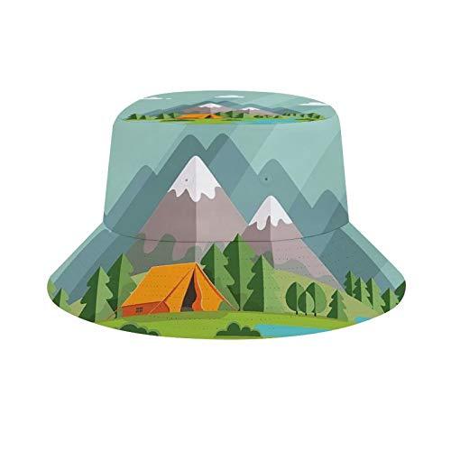 Verano Paisaje mañana en las montañas Soledad en la naturaleza por el río Fin de semana en la tienda de campaña Senderismo y camping Unisex Moda Sombrero de verano pescador Cap sombrero de sol