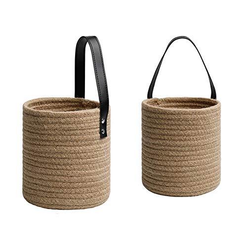 HLSUSAN 2 Small Rope Hanging Basket Organizer Baby Kindergarten Baumwollkorb, Sonnenbrille Bin Lagerung für kleine Spielzeugpflanzen Kleidung,Large+Large