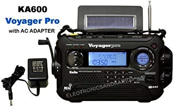 KA600 BLACK Solar/Crank AM/FM/SW NOAA Weather Radio, BONUS AC adapter/charger, 5-LED reading lamp, 3-LED flashlight, thermometer & humidity meter (Kaito) by ER-RADIO